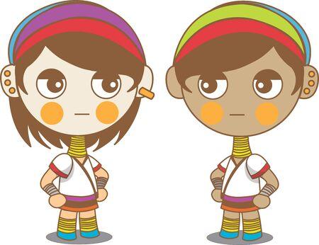 tribu: Karen Hill Tribe lindo de la historieta