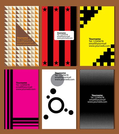 topics: variety of 6 vertical business cards on different topics