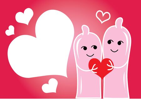 Happy couple in love with heart Vector
