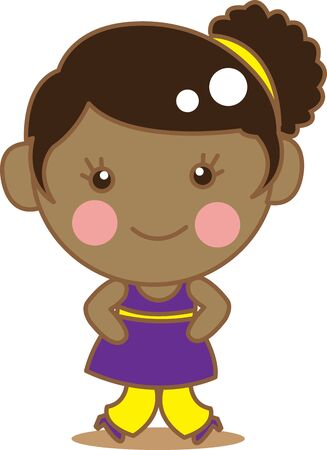 ni�a negra: Cartoon Cute Girl Negro