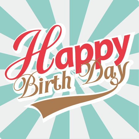 birth day: Happy Birth Day card. Retro style