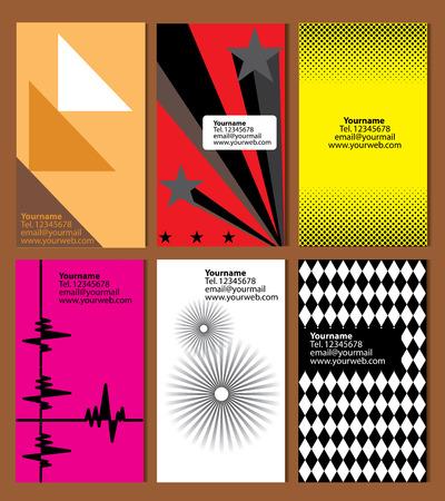 personalausweis: Auswahl von 6 vertikalen Visitenkarten zu verschiedenen Themen