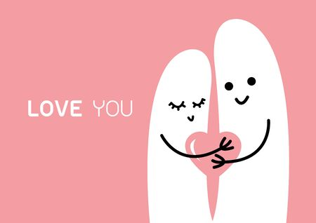 condom: Happy couple in love with heart