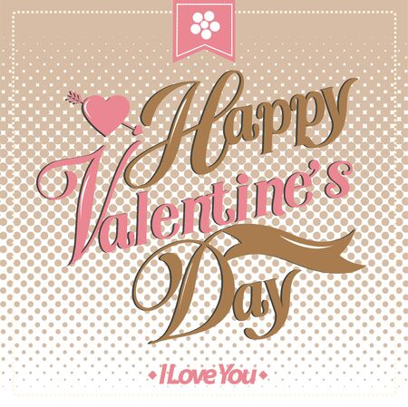 valentino: Valentines day card, Font Type Vector Illustration.