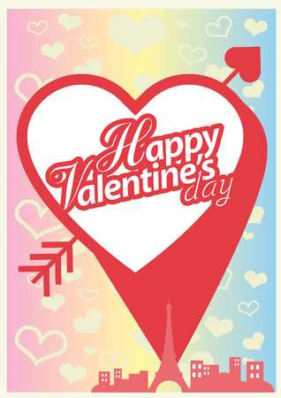day saint valentin: Happy Valentines card, Love heart vector.
