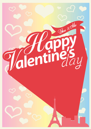 day saint valentin: Happy Valentines day card, Font Type Vector Illustration. Illustration