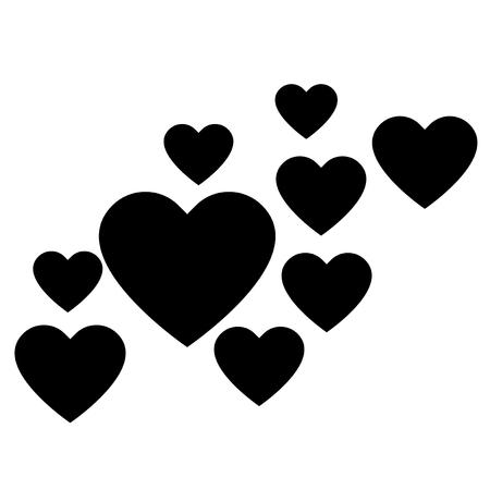 carta de amor: Corazones del amor, Una colecci�n de corazones de amor, hay peque�os corazones de amor que rodean un coraz�n grande en el centro.
