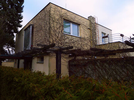 functionalism: Functionalist house overgrown with ivy in Prague