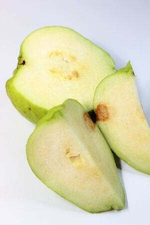 guayaba: water intact guava green on a white background