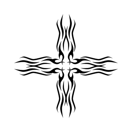 Tattoo tribal cross designs. Vector sketch of a tattoo. Art tribal tattoo.
