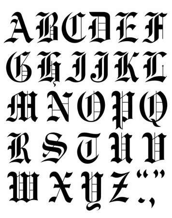Establecer dibujo de alfabeto de vector de fuente gótica. Ilustración de vector