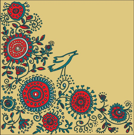 ornamental flowers and birds singing in the background of buff Stock Vector - 12204293