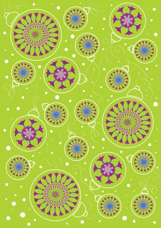 vector drawing of ornaments for Christmas trees on a green background