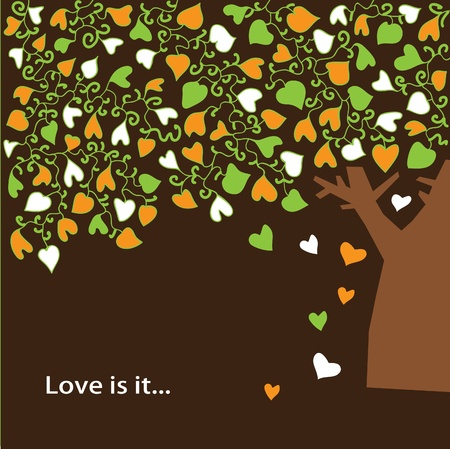 A tree with colorful heart-shaped leaves on a brown background Vector