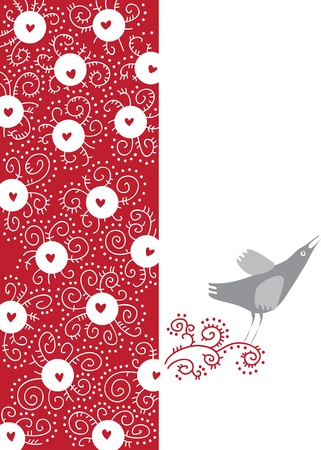 greeting card with abstract designs and a singing bird Stock Vector - 12204306