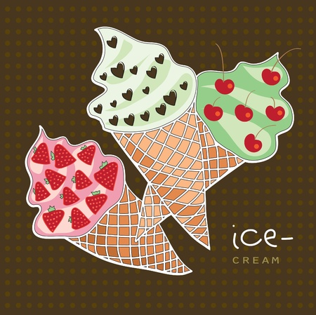 Three different types of ice-cream cone Vector