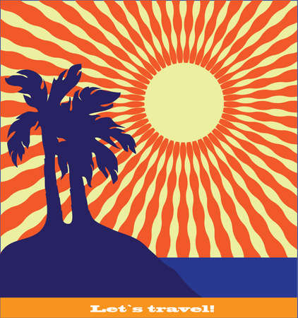 Vector landscape with palm trees, sea and sunsets Vector