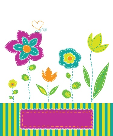 background with colorful flowers in the style of applique fabric Illustration