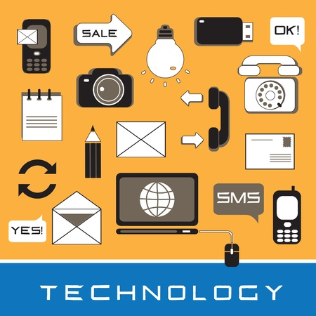 a set of icons on the technology on an orange background