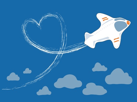 a small white plane doing aerial loops in the sky Stock Vector - 12204338