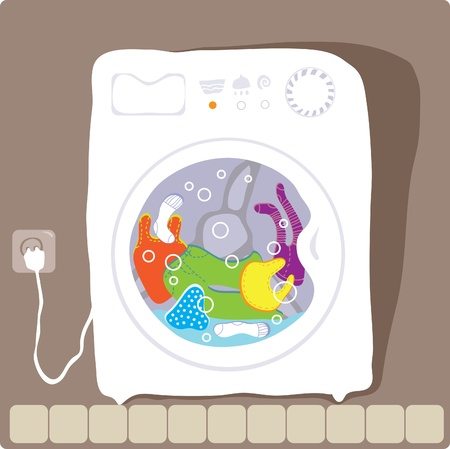 washing clothes: vector drawing washing machine that washes clothes color