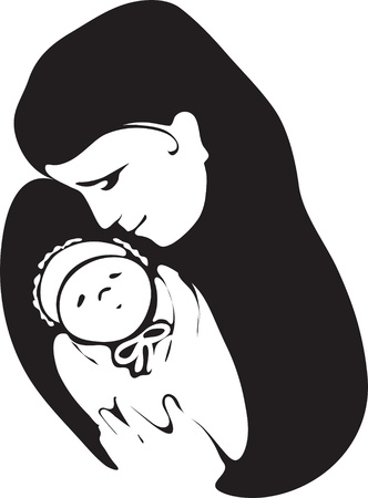 Vector image of a young mother with a baby Vector