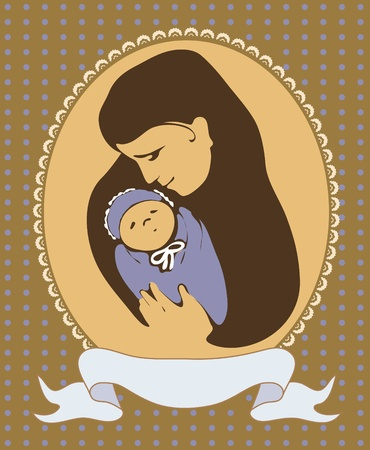 Vector image of a young mother with a baby Stock Vector - 12204347