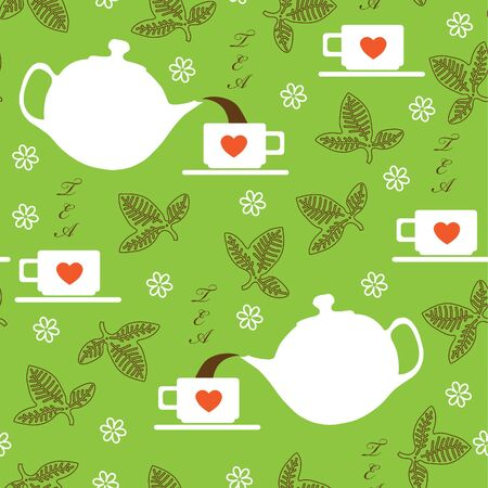 Seamless texture with the image of Kettle and cups with green tea leaves Vector