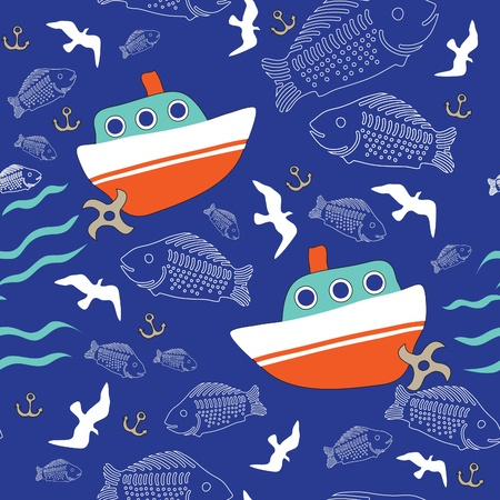 Seamless texture with the image of the ships, seagulls and a large number of fish Illustration