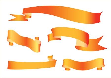 image of orange ribbons on a white background Illustration