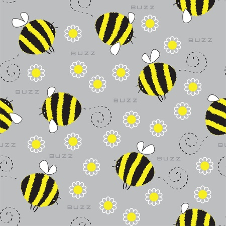 Seamless texture with a cheerful bumble bees and daisies Vector