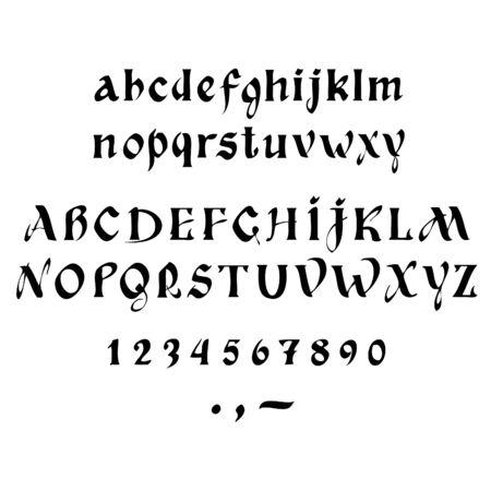 calligraphy pen: Vector alfabeto de la caligraf�a en un fondo blanco