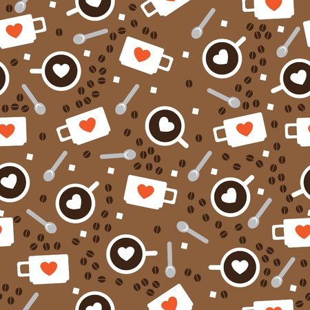 seamless texture of the cups with coffee and foam in the shape of a heart Stock Vector - 12204312