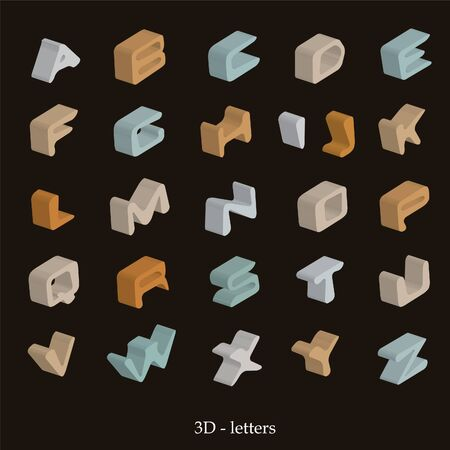 3D vector alphabet on a brown background Illustration