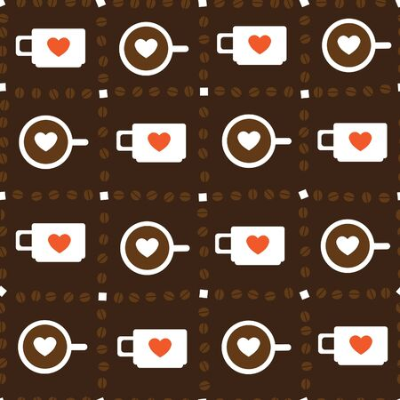 in good spirits: seamless texture with a cup of coffee in the chess order