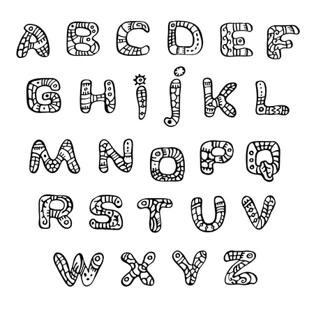 black-and-white font in the style of ethnic