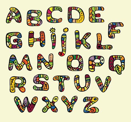 font color painted in the style of ethnic Vector