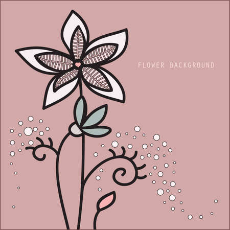 background with a picture of a flower with a central heart-shaped Vector