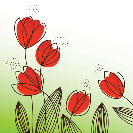 picture of five red tulips
