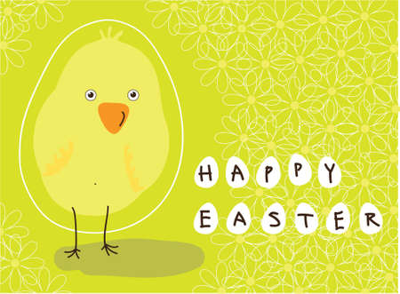 greeting card with a holiday of Easter and the image of the chicken Vector