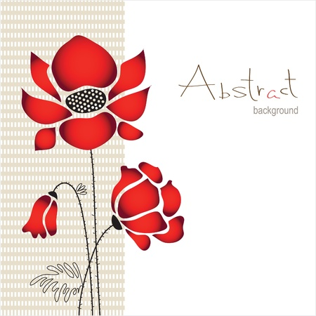 abstract background with flowers poppies Vector
