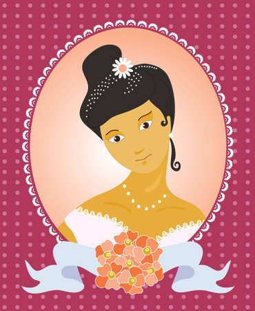 a beautiful bride with a bouquet of pink flowers Vector