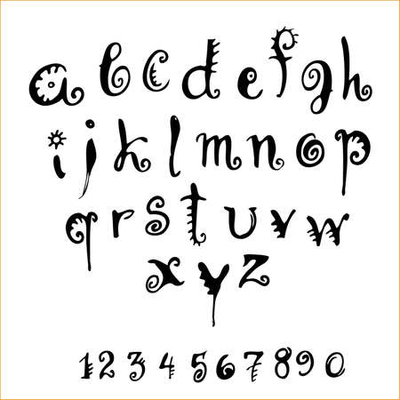 penmanship: decorative alphabet and numerals on a white background Illustration