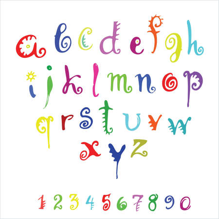 penmanship:  color alphabet and numerals on a white background Illustration