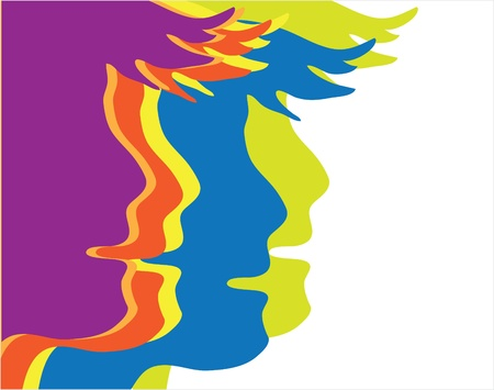 man face profile:  profiles of young people painted in different colors