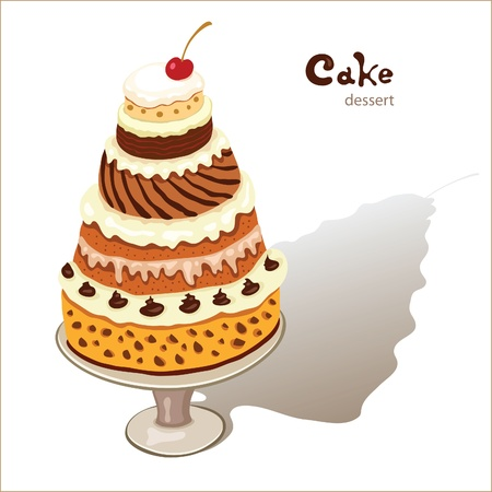 of a big cake on a plate Vector