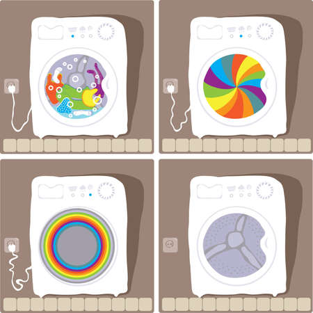 laundry machine: images are four states of the washing machine Illustration