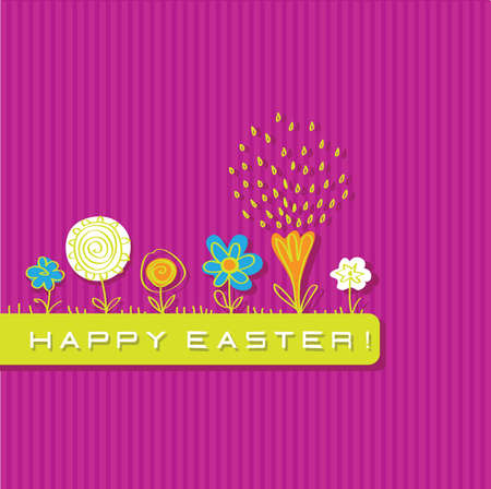 greeting card with a picture of bright flowers Vector