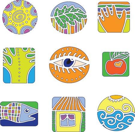 logo poisson: Un ensemble de la conception des �l�ments de l'environnement et les gens