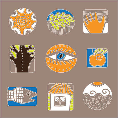 A set of design elements  Environment and people  Vector